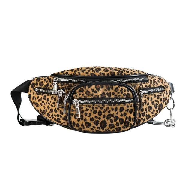 Leopard Print Crossbody Waist Bag Travel Fanny Packs Women Girls Casual Chest Shoulder Handbags Street Style Unisex Waist Pack