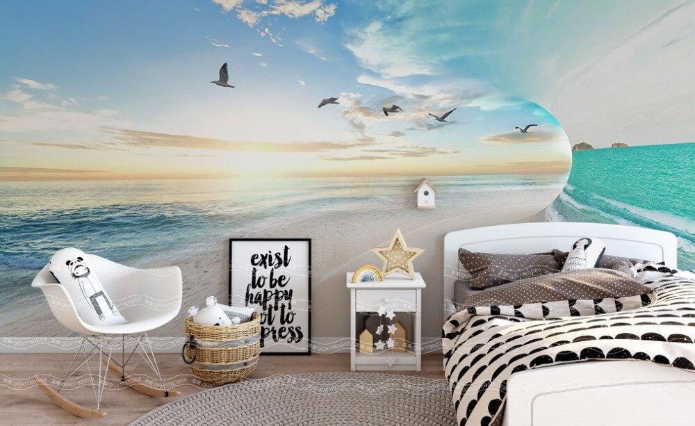 Современный простой 3 d пейзаж обои гостиной спальня детская комната ТВ фоне стены росписи рабочего стола синий обои home decor