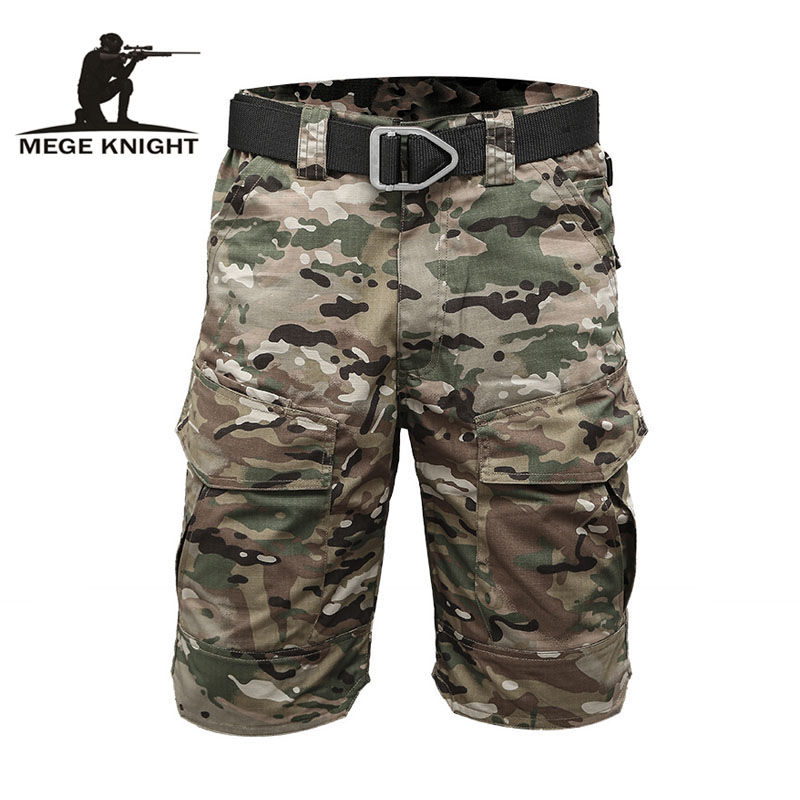 MEGE KNIGHT Brand Tactical Men Military Camouflage Short Multi Pocket Summer Breathable Quick dry Male Casual Short Pants