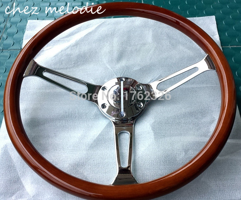 High mirrow chromed spoke 15 38cm universal vintage classic wood bus car steering wheel with horn