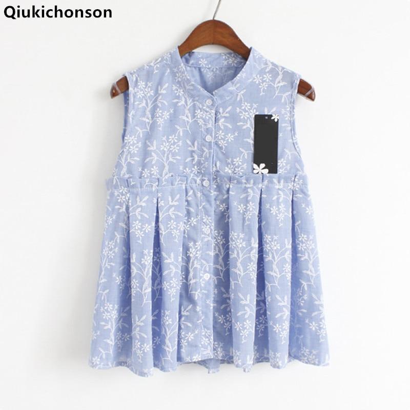 Qiukichonson Kawaii Embroidery Cotton   Blouse   Sleeveless 2018 Summer Tops Ladies Cute Baby Doll   Blouse     Shirts   blusa mujer