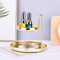 Nordic style Iron Rose Gold Double deck Jewelry Tray Storage Rack Home Organization Tool For Bracelet Ring Necklace Cosmetics