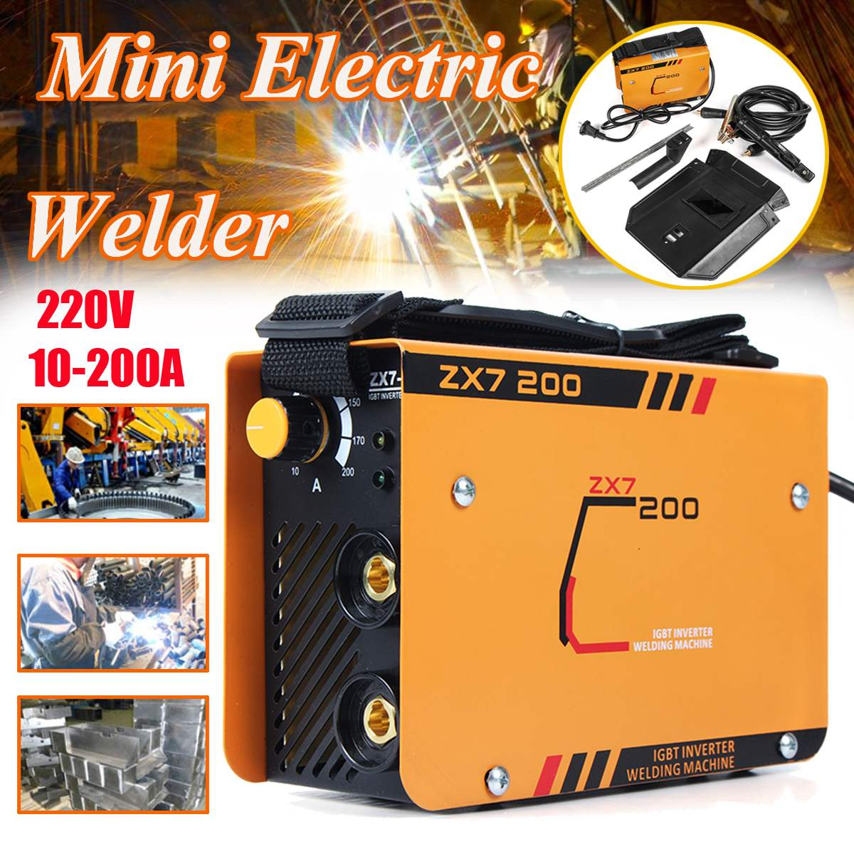 220V 10-200A Mini Electric Welding Machine ZX7-200MINI Arc Welder 2.5-3.2mm for Soldering and Electric Working Adjustable