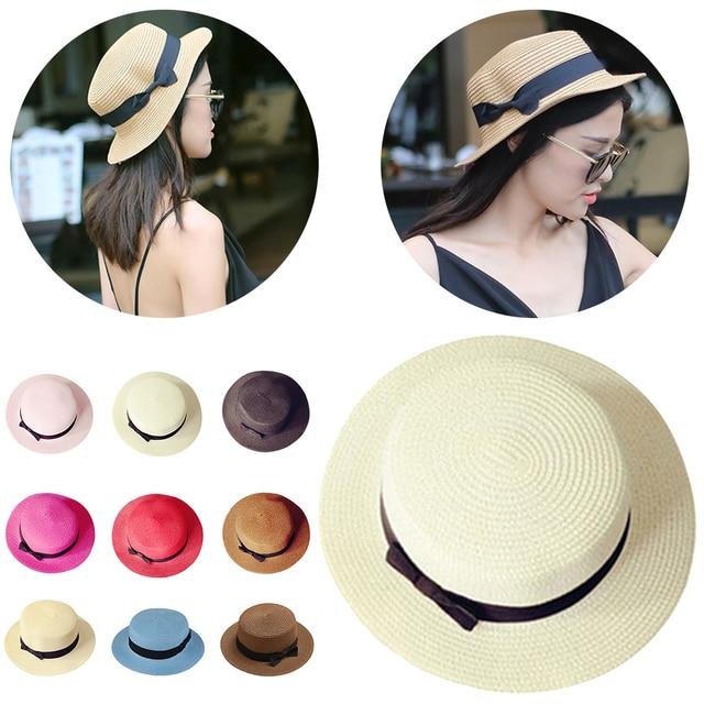ee9f4034027ec Cute Woman s Sun Hats Hot Bow Hand Made Women Straw Cap Beach Big Brim Hat  Casual Glris Summer Cap Fashion Parent-child Sun Hat