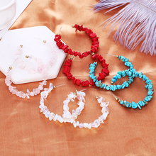 Nature Pink White Blue Stone Big Hoop Circle Earrings For Women 2019 Fashion Female Exquisite Pendientes Party Wedding Jewelry недорого