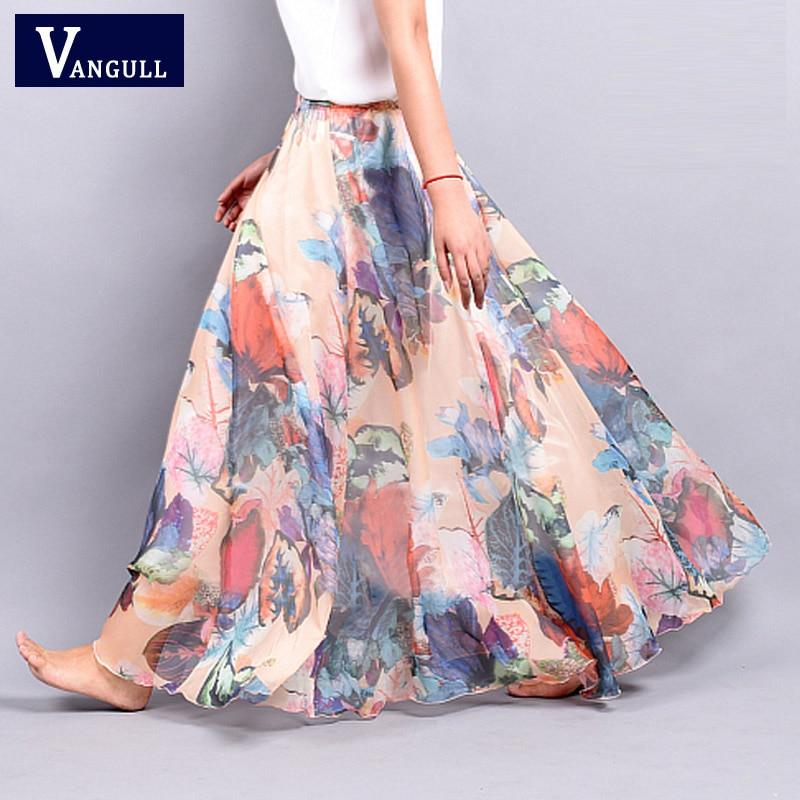 Chiffon Skirt Summer bohemian Floral Print Beach Maxi Pleated flower Long Skirt 2016 New Fashion Casual Skirts For Women