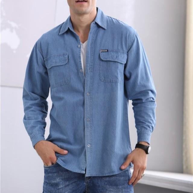 2019 חדש אביב ובסתיו גברים של אדמה slim ארוך שרוולים גודל גדול חולצת ג ינס ארוך שרוולים דק מעיל