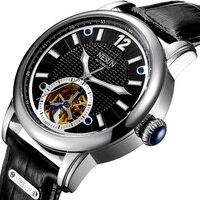 Suíça marca de luxo nesun esqueleto tourbillon relógio masculino automático auto vento relógios masculinos relógio de couro genuíno N9033 4 clock brand clock men automatic clock automatic man -