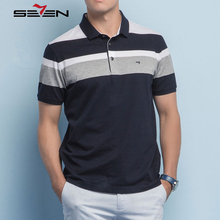 Seven7 Brand 2017 New Mercerized cotton Polo Shirts Casual Fashion Polo Shirt Men Short Sleeve Polo Shirt Stripe Polo 112T50070
