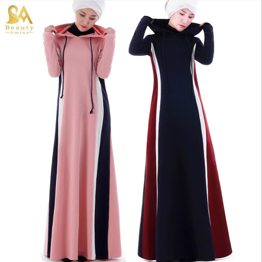 Muslim adult hit color hooded abaya Arab Fashion thicker warm muslim abaya Dresses Musical Robe prayer Ramadan sweatshirt w826