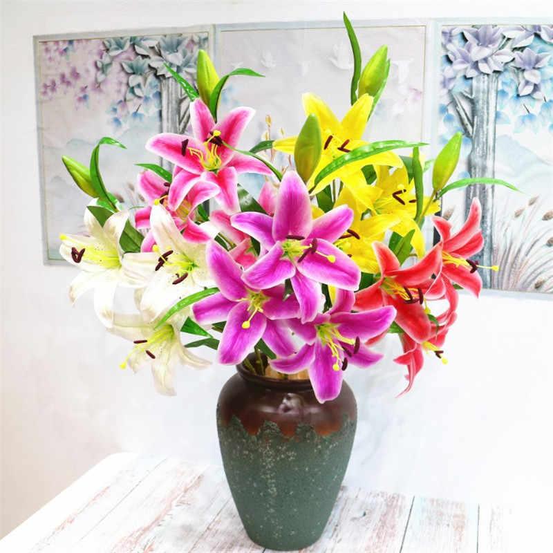 """Lirio de látex falso de 8 piezas (3 cabezas/piezas) 39,76 """"longitud simulación tacto Real lirios para el hogar boda flores artificiales decorativas"""