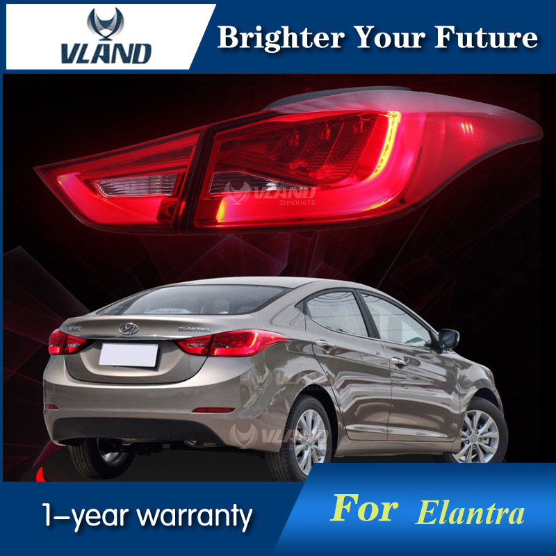 Smoked Red LED Tail Lights For Hyundai Elantra 2011-2013 Red Lens Rear Lamp Assembly Custom tail lights for hyundai elantra 2011 2013 led brake smoke lens rear lamp 1set
