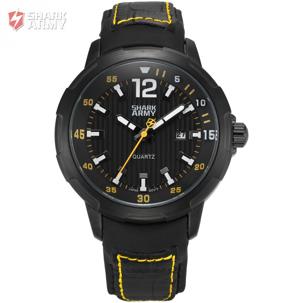 Shark Army Luxury Brand Auto Date Leather Watch Band Military Water Resistance Sport Outdoor Men Quartz Watch Gift Box / SAW156 shark sport watch brand men auto date