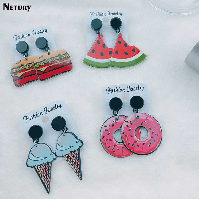 New HOT Women Acrylic summer fashion earrings Donut fruit Ice cream Harajuku cartoon stud earrings funny party girl cute jewelry