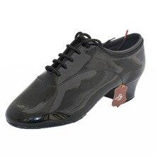 Dancesport BD Dance 417 Men Latin Dance Shoes split Sole Patent Practice Competition Dancing Shoe Improved Heel Ballroom Shoes