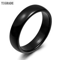 TIGRADE 6mm Black Brushed Fashion Size 5 12 Ceramic Ring Women Men Wedding Rings Engagement Band