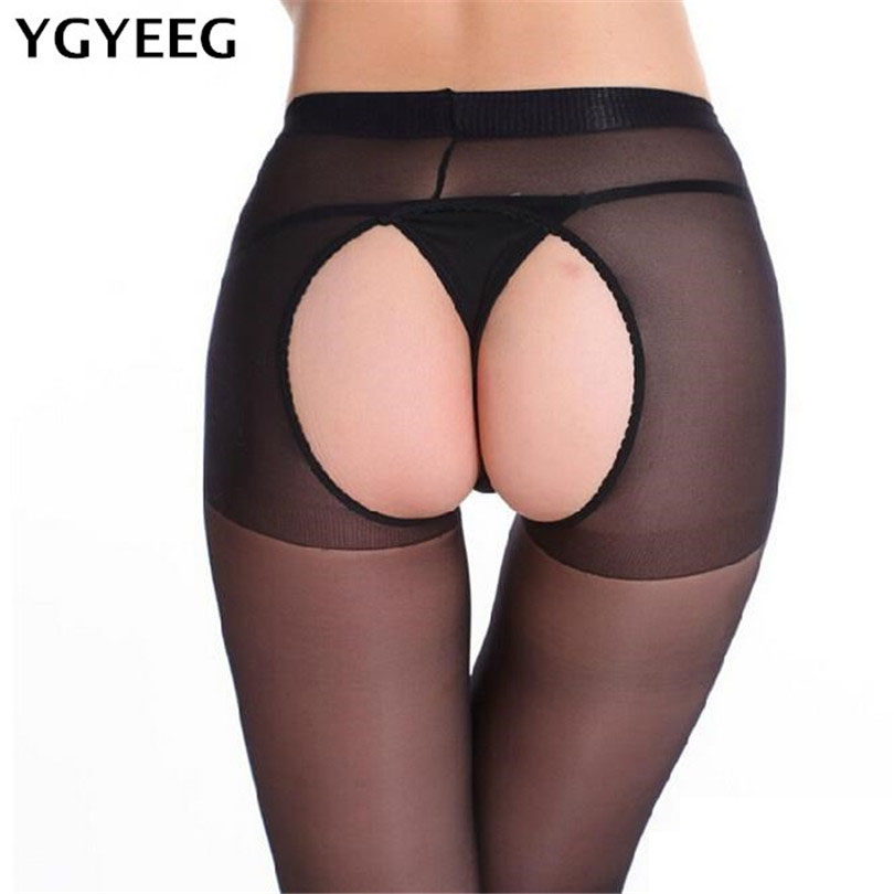 YGYEEG 2018 New Arrival Sexy Lady Women Fashion Lace Open Crotch Soft Tights Elastic Pantyhose Stockings Black Cutout Stocking