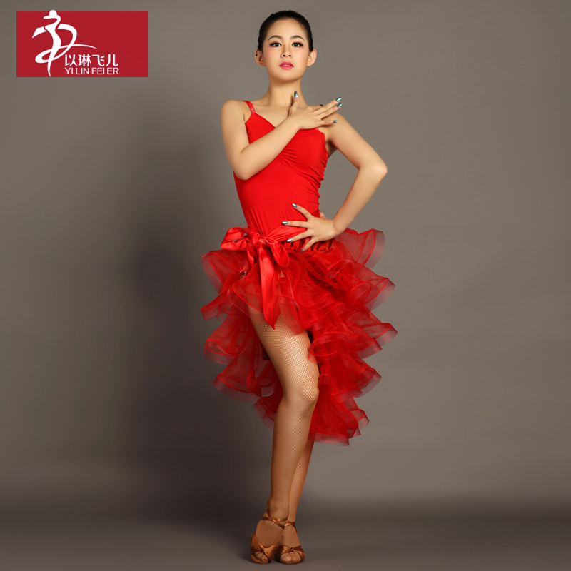Dance Costumes For Kids Fringe Dress Hot Sale Rushed Dance For Ballroom Womens Tango Rumba Cha Samba Suits Costume Gb038 + 039