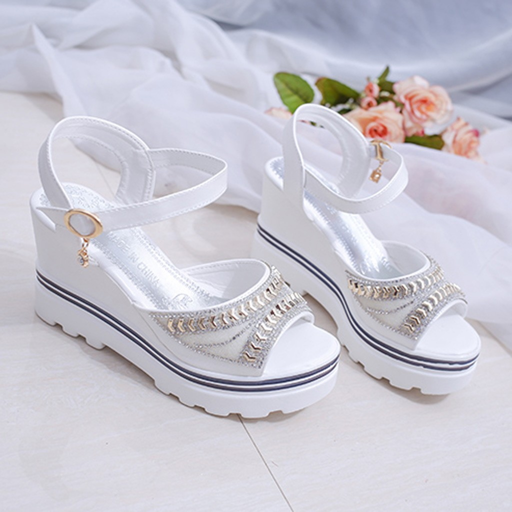 HTB1 blUyLaK1RjSZFxq6ymPFXav - SAGACE Women Thick Bottom Sandals Wedges Sandals Shoes For Women Fashion Women Summer Wedge Heel Open Toe Buckle Strap Sandals