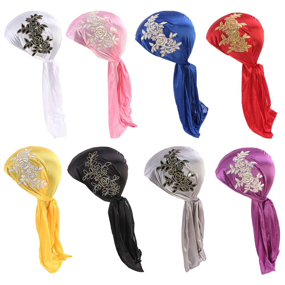 Unisex Imitated Silky Outdoor Biker Headwrap Glitter Solid Ethnic Vintage Floral Embroidered Turban Hat Long Tail Wide Strap