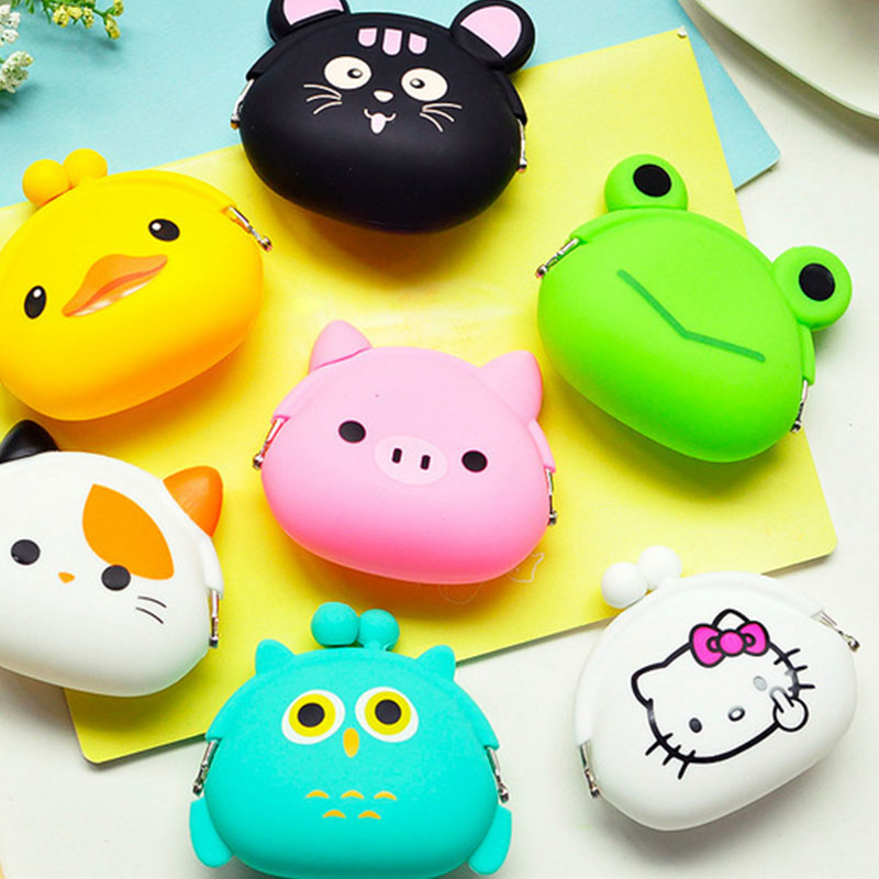 цены 2018 New Girls Mini Silicone Coin Purse Animals Small Change Wallet Purse Women Key Wallet Coin Bag For Children Kids Gifts