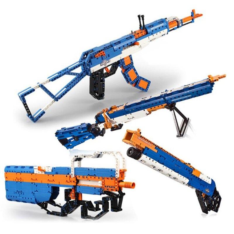 SWAT bricolage blocs de construction AK47/M1/Desert Eagle Gun set d'arme modèle peut tirer avec Instruction Compatible avec bloc