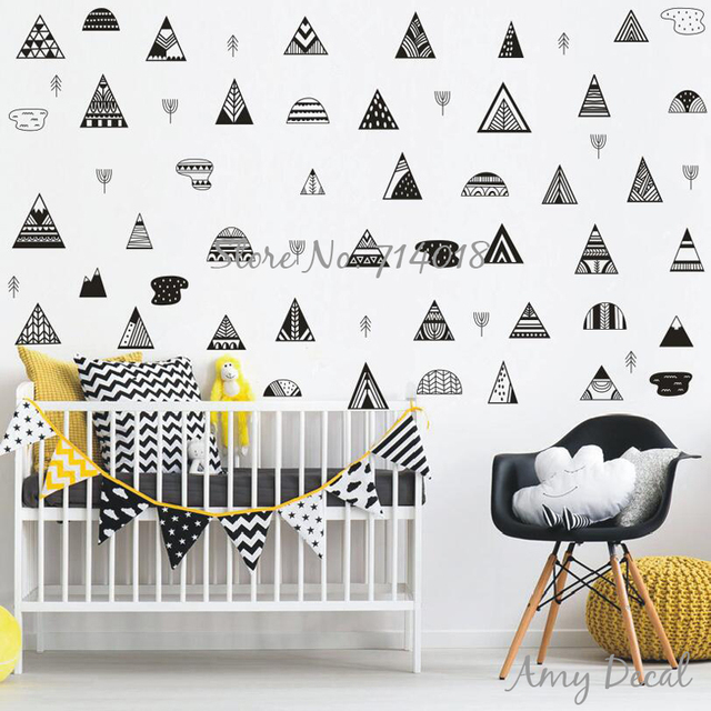 Nordic Style Mountain Wall Decals Geometric Tribal Mountains Woodland Wall  Sticker Kids Room Decor Nursery Vinyl