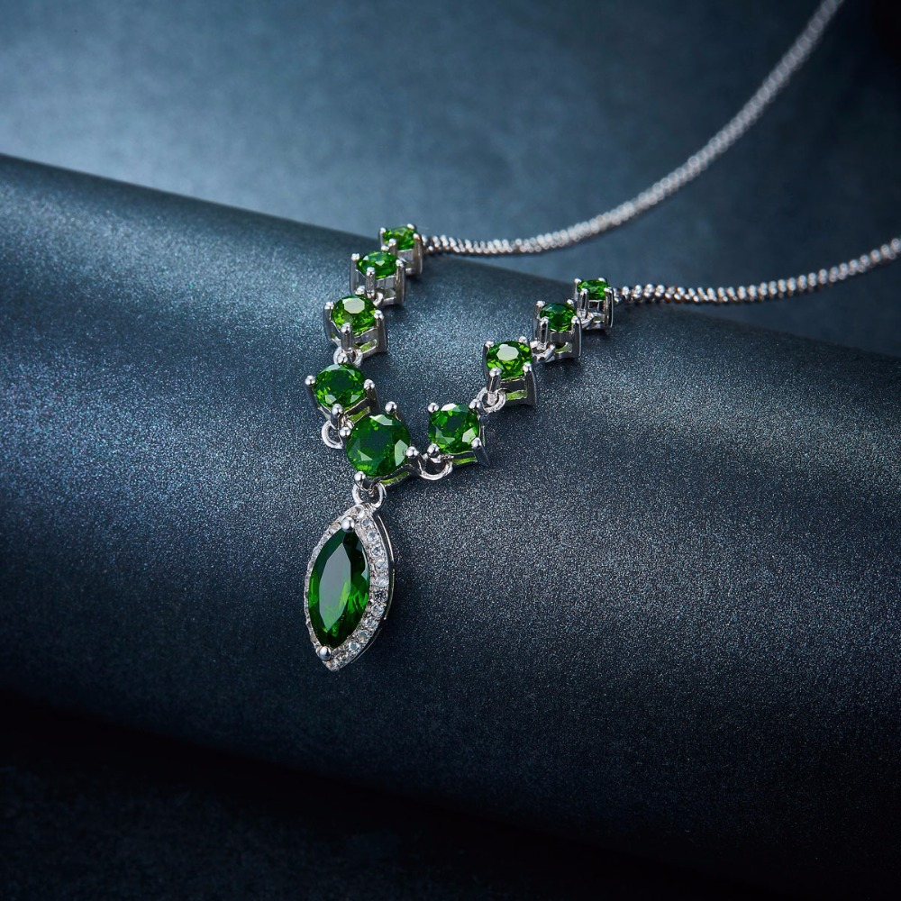 Hutang natural chrome diopside necklace solid 925 sterling silver hutang natural chrome diopside necklace solid 925 sterling silver gemstone fine fashion jewelry for womens gift new 18 inches in necklaces from jewelry aloadofball Images