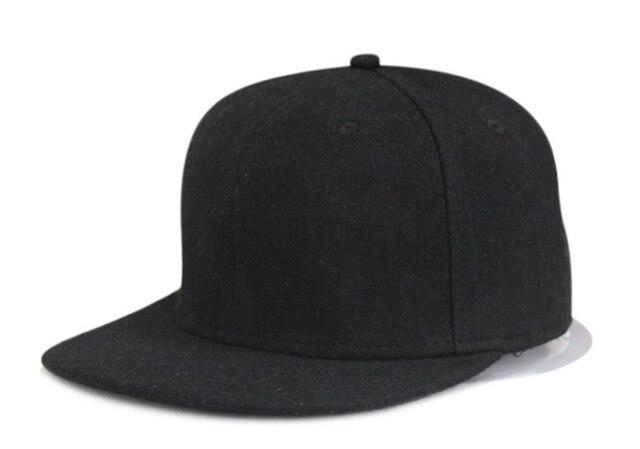 Black Grey no logo wool casual hiphop snapback cap hat adjustable buckle  flat brim fashion casual sport baseball full hat c54a4a59ec1