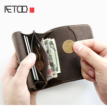 AETOO Mens retro crazy horse leather short wallet handmade pure purse coin bag small card package