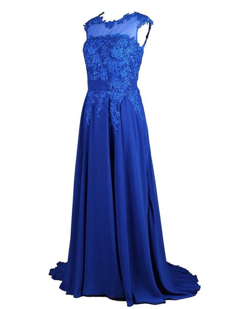 Más Tamaño Vestido de Noche  Vestidos de Festa Longo Encaje Apliques Royal Blue