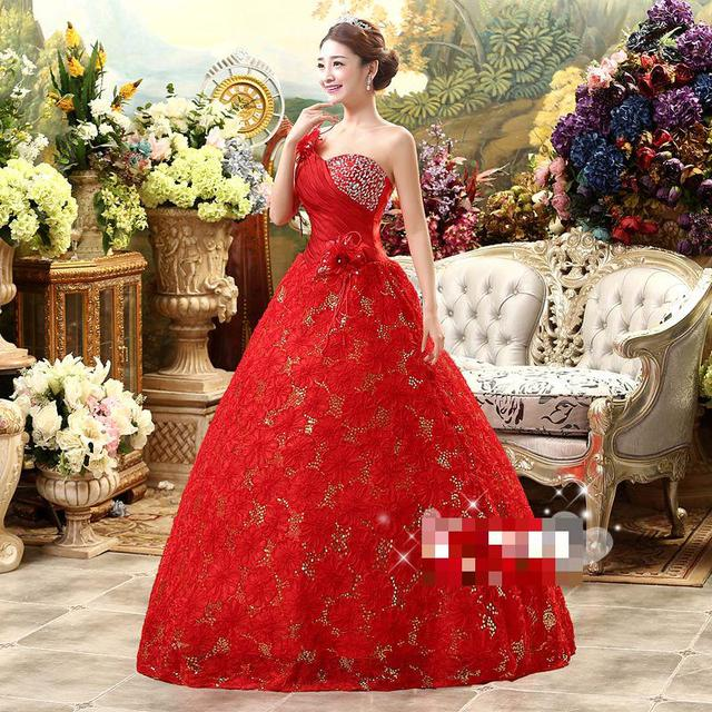 2016 New High Waist Hot Sale Sweetange Korean Style Sweet Romantic Lace  Princess Red Wedding Dress one Shoulder Strapless Dress 034e12b85fd6