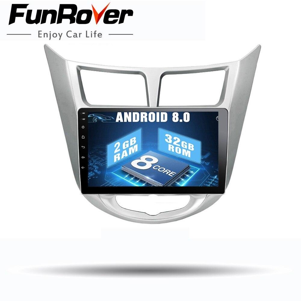 Funrover Octa 8 core Android 8.0 auto radio dvd player multimediale per Hyundai Solaris accent Verna i25 gps stereo di navigazione navi
