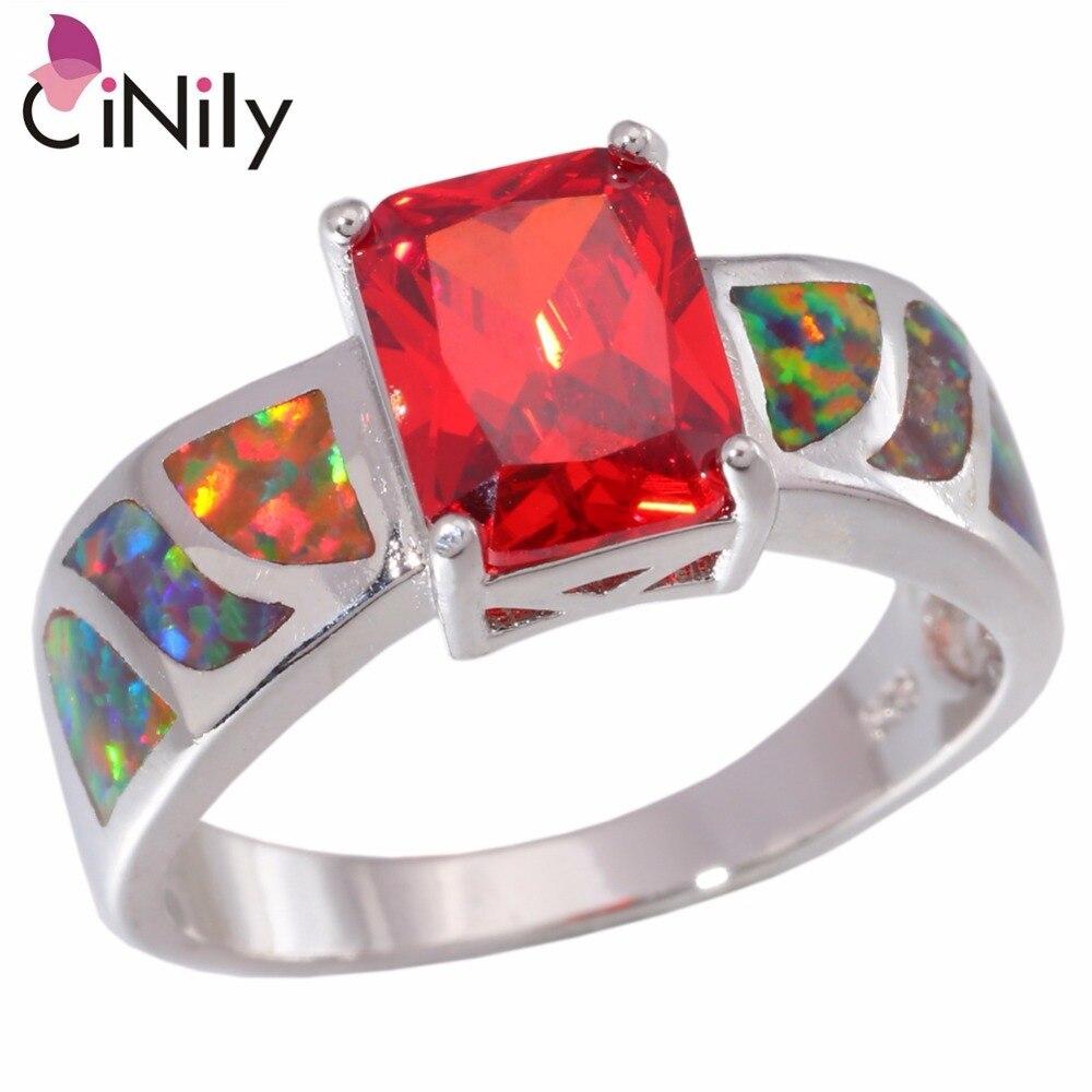 Cinily Ring Wholesale Jewelry Fire Opal Orange Silver-Plated Women for 5-13 OJ5403 Garnet
