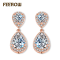 FEEROW Classic Elegant Bridal Women Drop Earrings Rose Gold Plated Teardrop Cubic Zircon Jewelry For Wedding Party FWEP514