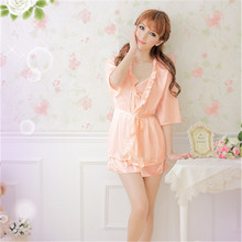 Hot Sale Women Sexy Lingerie Satin Lace Kimono Intimate Sleepwear Ice Silk Robe Sexy Babydoll NightGown Sex Products