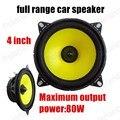 Envío de la alta sensibilidad 88Db 2x80 W para todos los coches 4 pulgadas de gama completa de altavoces del automóvil con super bass tambor amarillo papel