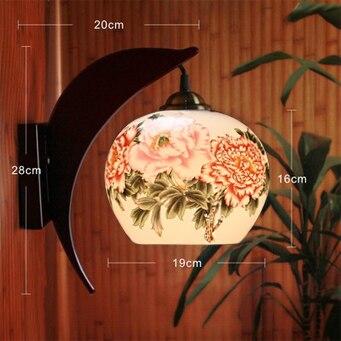 LED E27 220 В 110 В антикварные настенные лампа Цзиндэчжэнь Керамика деревянные прикроватные дома Deco Hotel ночника красочные настенные огни