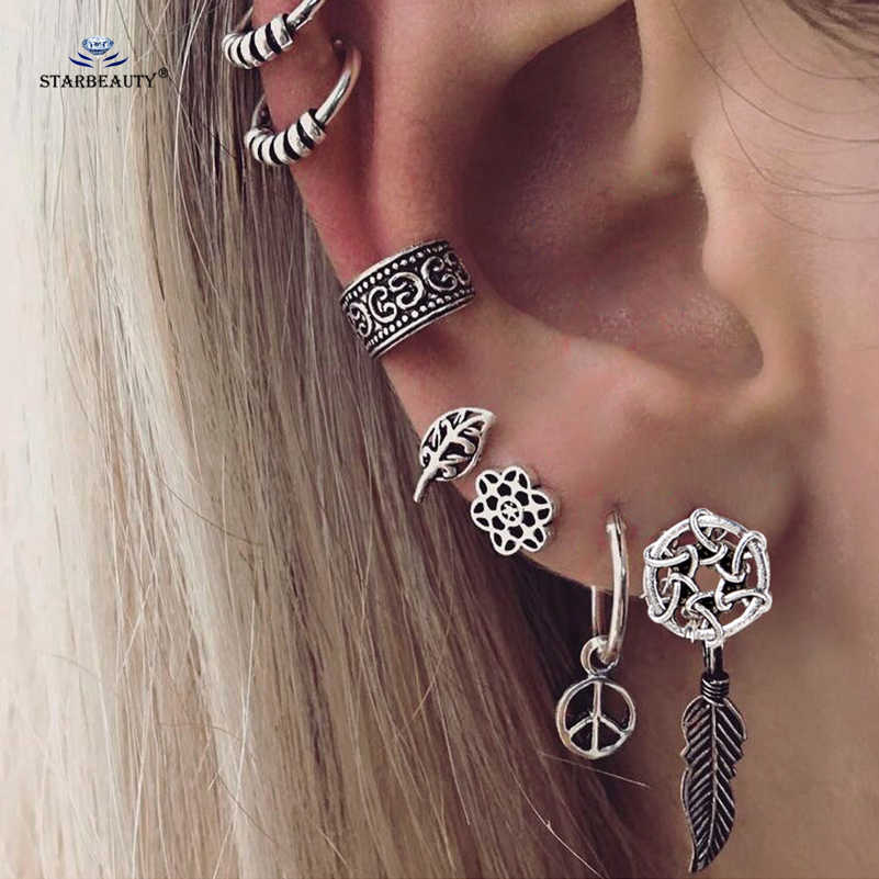 7 pcs/lot Trendy Dangle Leaf Peace Ear Piercing Helix Piercing Cartilage Fake Nose Ring Tragus Earrings Pircing Ear Cuff Jewelry