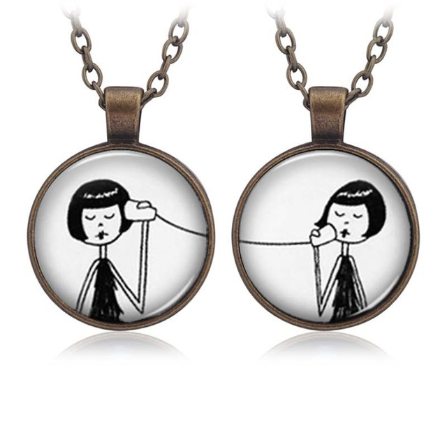 2pcs/set Phone Call Girl Connector Long Necklace & Pendant Keyring Keychain Fashion Key Chain For Women Gift Friendship Jewelry