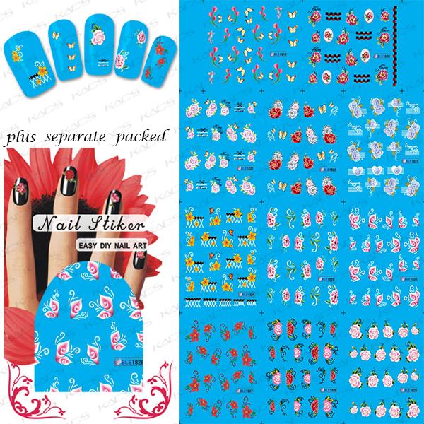 Beautynailart 90 UNIDS/LOTE BLE1819-1829 Nail Art Water Transfer Pegatinas Tatuaje Calcomanías Efecto-Mariposas Flores Hojas de Perlas