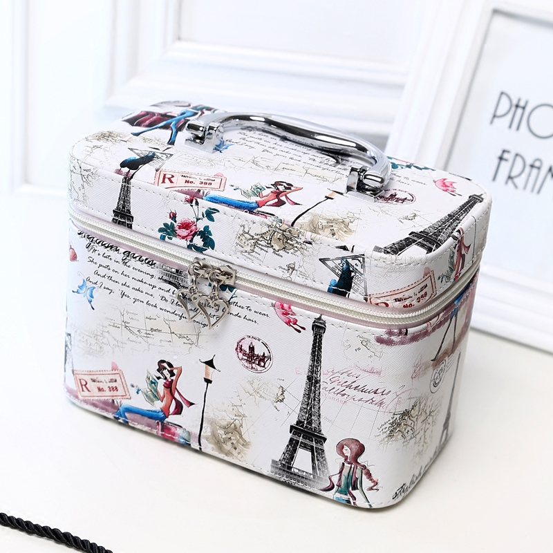 Korean style fashion multi functional scenery travel cosmetic case bag pu makeup case travel Korean style fashion girl bag