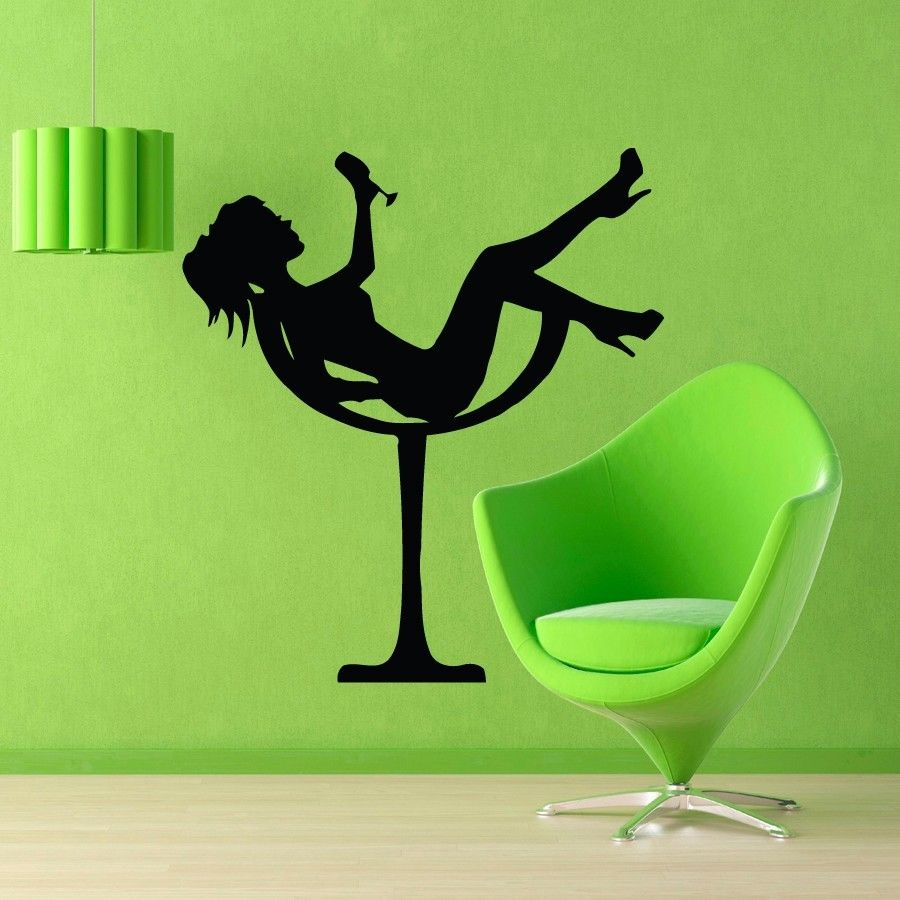 Us 29 99 Wall Decals Cool Girl In Martini Glass Vinyl Sticker Girls Bedroom Decor In Wall Stickers From Home Garden On Aliexpress Com Alibaba