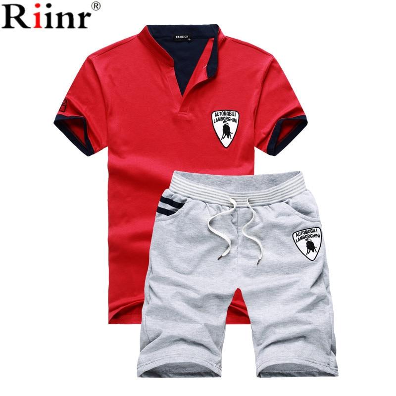 Riinr Fashion New Arrival Men T-shirts Suit High Quality Solid Color Cotton Blends T-shirt+Shorts 2 Piece Sets Mens Tracksuit
