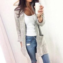 Autumn Winter Long Women Cardigans V-neck Full Sleeve Casual Knitted Solid Color Pocket Sweater Grey Black Female Coats Outwear