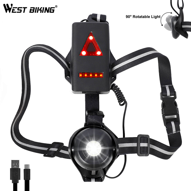 WEST BIKING Bicycle Light USB Charge Night Running Flashlight LED Chest Lamp Outdoor Sport Jogging Cycling Safety Warning Lights