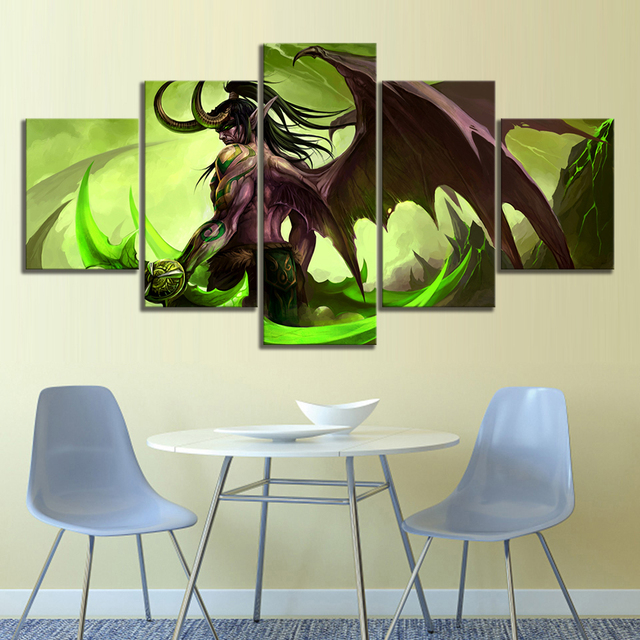 HD Picture 5 Piece Video Game Word of Warcraft Illidan Stormrage Warrior Poster Canvas Art Wall Painting for Home Decor 2