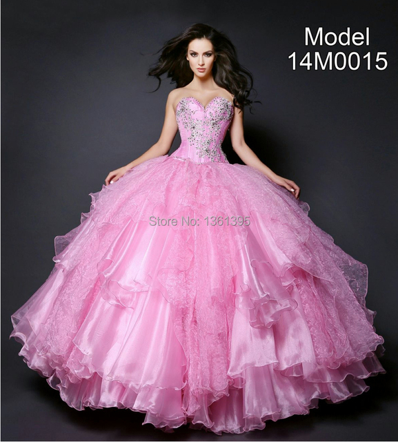 91f3258b8cc Bubblegum pink 2014 new off-shoulder sweet 15 ball gown puffy sweet 16  dresses organza quinceanera dresses with bowknot