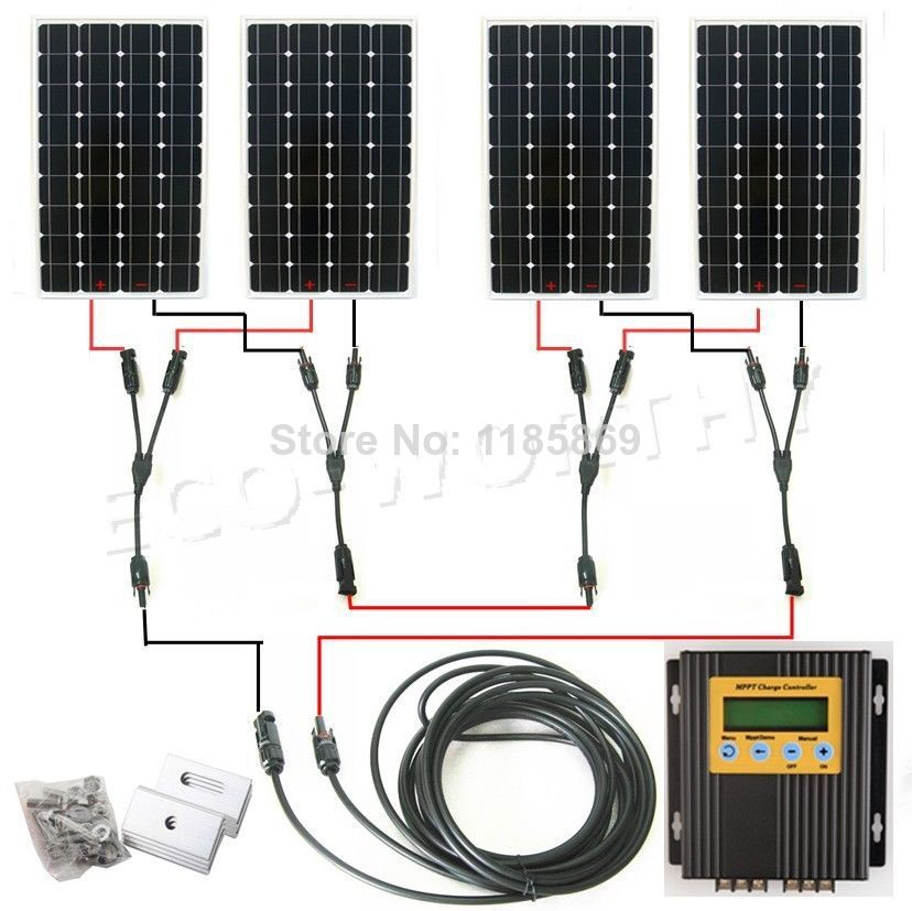 DE stock 4*150W 18V mono solar panel + 20A MPPT charge controller 600W solar system * no taxis no duty micro inverters on grid tie with mppt function 600w home solar system dc22 50v input to ac output for countries standard use