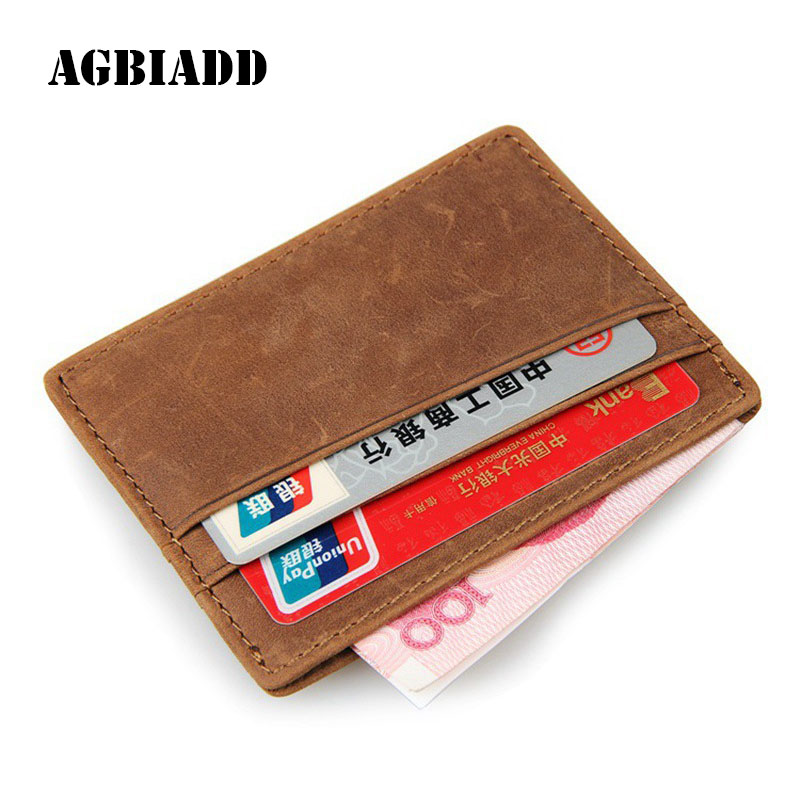 AGBIADD Genuine Cowhide Leather Slim Business Card Holders RFID ...